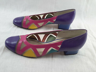 Funky Vintage 1980's Ros Hommerson shoes 11S Purple Yellow Mesh Leather Pumps