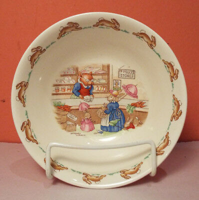 Royal Doulton BUNNYKINS Coupe Cereal Bowl Piggly's Store SIGNED Barbara Vernon