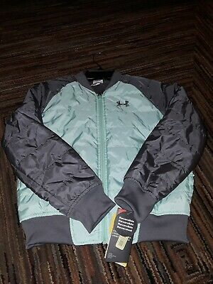 Nwt Under Armour Girls Bomber Jacket Mint Green Grey Gray