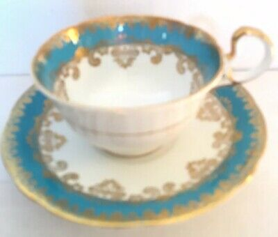 Rare Aynsley England Tea Cup & Saucer Turquoise Blue Green Gold Trim Nice Queen