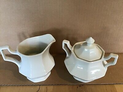 Johnson Brothers Heritage White Sugar W/ Lid & Creamer