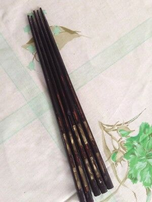 lot 5 ANTIQUE CHINESE CHOPSTICKS - CINNABAR MOTHER of PEARL or ABALONE INLAID