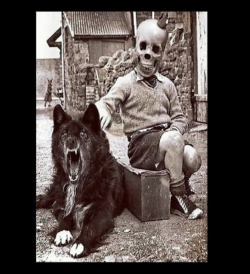 Vintage Freak Child Midget Wolf  PHOTO Creepy Dog, Scary Man, Weird Circus Clown