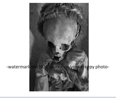 Vintage Scary Baby Huge Head PHOTO Freak Creepy Kid Grisly Demon Skull