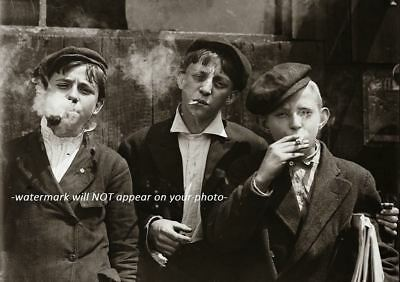 Vintage Boys Smoking PHOTO Creepy Weird Cigarette Kids Children, Scary Image