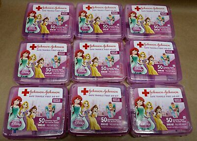 Johnson &  Johnson Disney Princess First Aid Kit 50 pc, EXP 2018, Package of 9