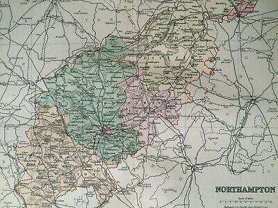1895 Northamptonshire Original Antique Map UK England Vintage Old County
