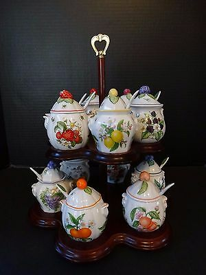 Lenox Orchard Jam Jelly Jar Complete Set of 12 w/ Spoons Double Wood Stand Mint