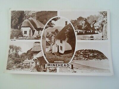 MINEHEAD MULTIVIEW Vintage Real Photo Postcard Franked 1953   §E519
