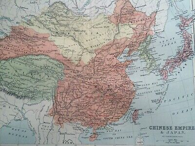 1905 Chinese Empire & Japan Original Antique Map Mounted and Matted Vintage Old