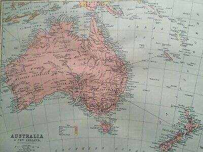 1905 Australia & New Zealan Original Antique Map Mounted and Matted Vintage Old