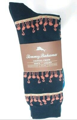 TOMMY BAHAMA Men's Casual Crew Socks 4 Pair Pack New
