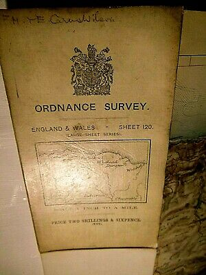 Exmoor-Antique Ordnance Map 1906-1912 From Victorian Survey:dissected & Mounted