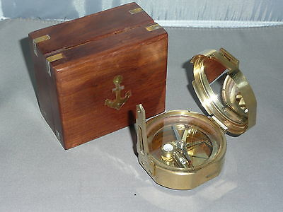COMPASS with WOODEN BOX      Brass Compass   Nautical BRUNTON Style Compass