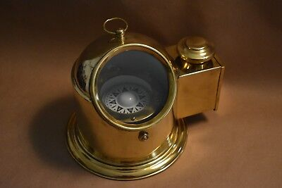 Nautical Binnacle helmet gimbeled compass with classy shiny brass finish home