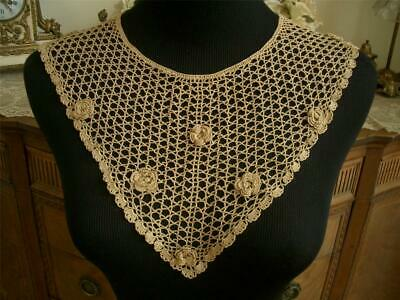 Dainty Hm Dimensional Antique Vtg Irish Crochet Lace Plastron Collar Dress Front