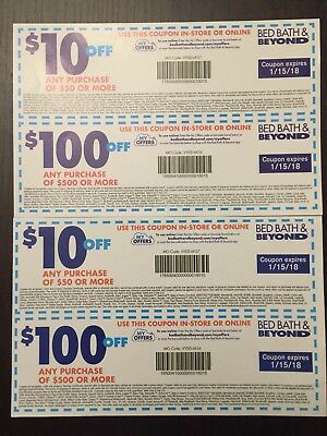 2 Sets of Bed Bath & Beyond $10 Off $50 And $100 Off $500 Coupons -- EXPIRED