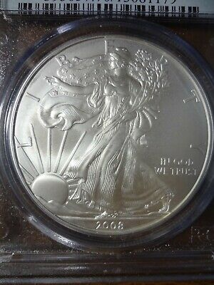 2008 W Burnished American Silver Eagle Pcgs Ms70