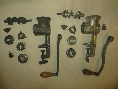 Lot of 2 Vintage Universal No. 1 Meat Grinders Hand Crank Table mount