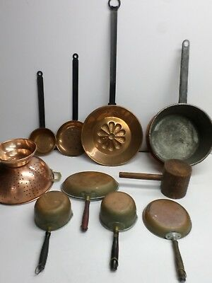 Antique COPPER CLAD/BRASS HEARTH WARE COLLECTION - Lot of (10) Pieces