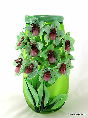 """Andrea Marcus Green """"Lady Slipper Orchid"""" Studio Art Glass Vase - Signed Dated"""