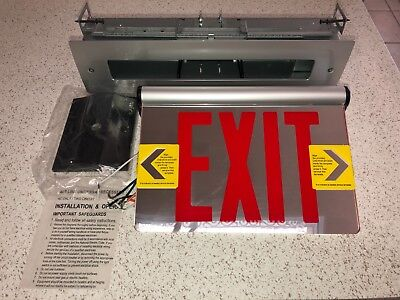 Philips McPhilben Red LED Emergency Exit Sign Universal Mount Mirrored 44RLU2R2C