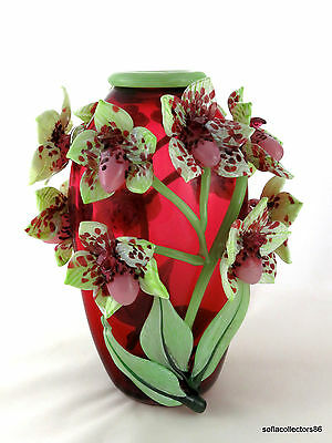 """Andrea Marcus Ruby """"Lady Slipper Orchid"""" Studio Art Glass Vase - Signed & Dated"""