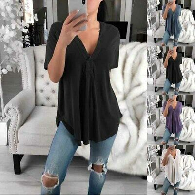 Womens Tops V-neck T Shirts Short Sleeve Summer Basic Tee Plus Size Solid Color