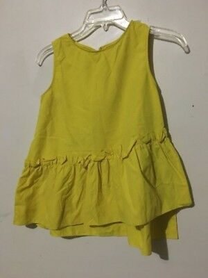 Zara Girls Size 13/14 Mustard Yellow Kids Top Blouse Stylish Ruffle Flare