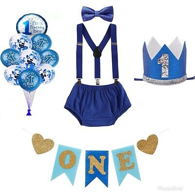 Cake Smash Outfit Boy 1st Birthday Baby Royal Blue Props Package