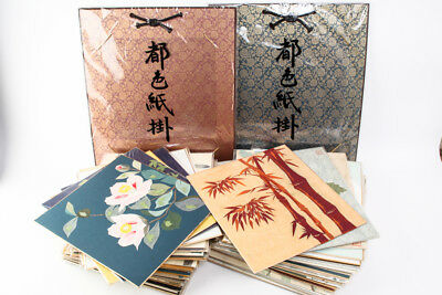 70 Paperboards Collage Japanese Traditional Paper WASHI and 2 Holders #20863