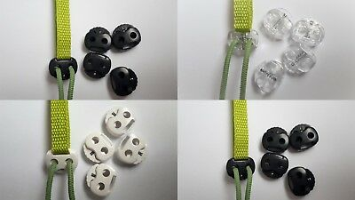 6x Small Double Cord Stopper Spring Toggles Cord Locks One Handed 22mm