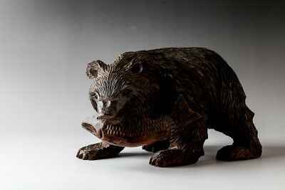 """Japanese Wood Bear With Salmon Statue Hand Carving Ainu Craft 10"""" wide #21623"""