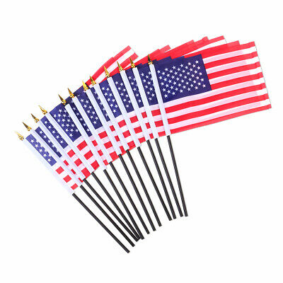65953ab1bf3b 12 Pcs USA Stick Flag Hand Held Small American US Mini Flags On  International