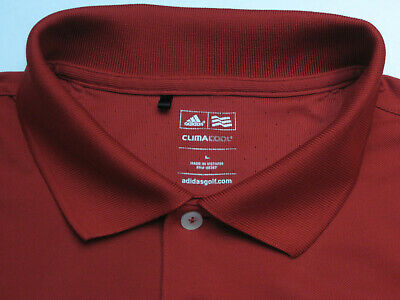 Adidas Golf Men's L Short Sleeve Solid Red 100% Polyester Polo Shirt 6208