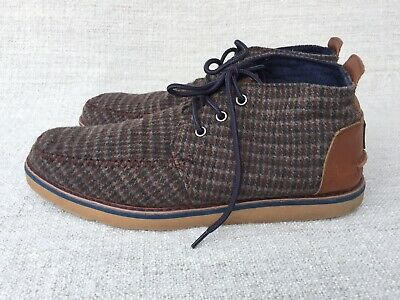 New Mens Wrangler Brown Hill Tweed Chukka Leather Boots Lace Up