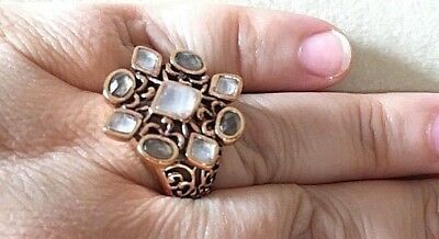 Size 6 New Barse Ring- Genuine Smoky & Clear Quartz with Copper  MSRP $105