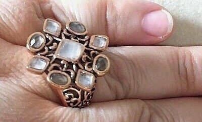 Size 9.5 New Barse Ring- Genuine Smoky & Clear Quartz with Copper, MSRP $105