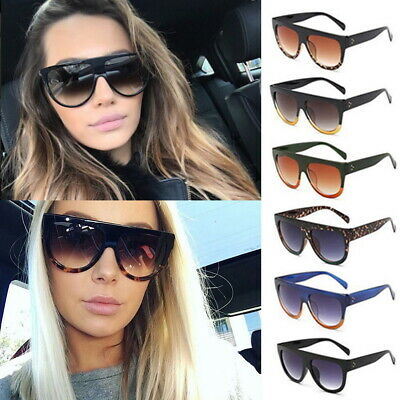 6e9a3b03d97 Black Tortoise Flat Top Oversized Shadow Shield Women Ladies Sunglasses  Shade