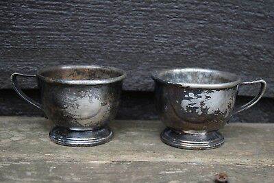 Vintage Pair FA Cecilware Nickle Silver Cups Tarnished Patina