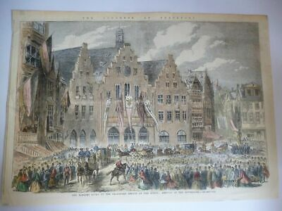 Orig. Stahlstich - Hessen: The Congress at Frankfort - The Banquet given by the
