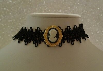 Cameo Pendant Choker Lace - Gothic Victorian Choker Necklace - Handmade in USA