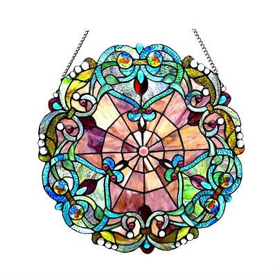"""Stained Glass Chloe Lighting Victorian Window Panel 20"""" Diameter Handcrafted"""