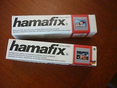 2 boxes x100 new unused HAMAFIX glassless slide frames 2.3mm photography slides