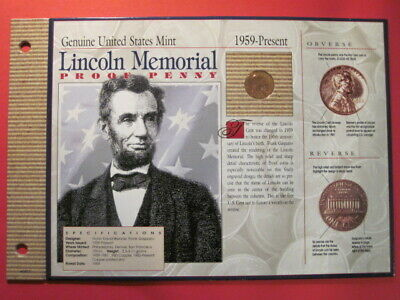 **** 1960-P Proof Lincoln Memorial Cent / U.S.Mint Coin Card (Large Date)