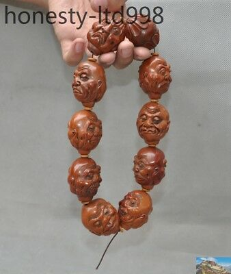 Old Chinese Olive nuclear Carved 18 Arhat Buddha Head Pray Bead amulet necklace