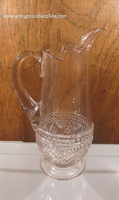 """EAPG ☆ Melrose Pattern Clear Glass ☆ Water Pitcher ☆ 11 1/8"""" Tall"""