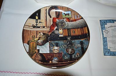 """2001 Bradford Exchange Purr-Fect Pairs Cat Plate """"Kitty Cargo"""""""