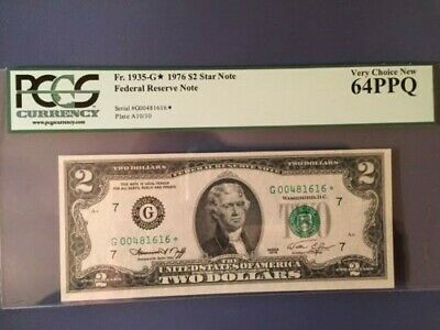 STAR 1976 $2 TWO DOLLAR BILL * Chicago NOTE Fr 1935-G* PCGS