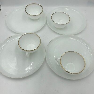 FIRE KING Vtg Oven Ware Milk Glass Snack Plate & Cup Set ~ 4 Cups 4 Plates